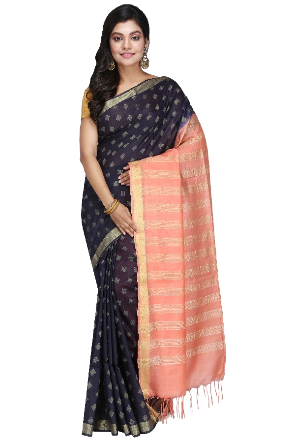 Swatika Ethnic Indian Bhagalpuri Handloom All Over Natural Thread Woven Design Navy Blue - Peach Colored Mix Silk Saree/Sari with an unstitched Blouse Piece Model No - S9OTJJ036