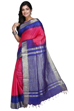 Swatika Ethnic Indian Bhagalpuri Handloom Zari Temple Pink-Blue Colored Mix Silk Saree/Sari with an unstitched Blouse Piece Model No - S9OTJJ025