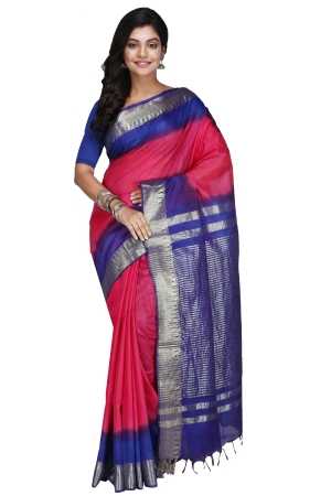 Swatika Ethnic Indian Bhagalpuri Handloom Zari Temple Pink-Blue Colored Mix Silk Saree/Sari with an unstitched Blouse Piece Model No - S9OTJJ025
