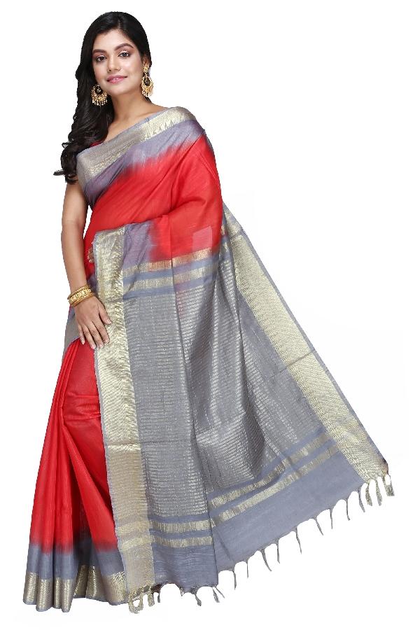 Swatika Ethnic Indian Bhagalpuri Handloom Zari Temple Red - Grey Colored Mix Silk Saree/Sari with an unstitched Blouse Piece Model No - S9OTJJ003