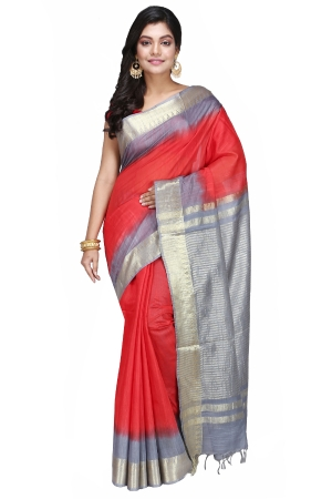 Swatika Ethnic Indian Bhagalpuri Handloom Zari Temple Red - Grey Colored Mix Silk Saree/Sari with an unstitched Blouse Piece Model No - S9OTJJ003