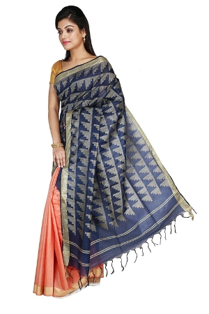 Swatika Ethnic Indian Bhagalpuri Handloom Peach - Blue Colored Art Silk Saree/Sari with an unstitched Blouse Piece Model No -S9FBJJ38