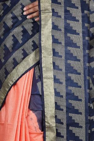 Swatika Ethnic Indian Bhagalpuri Handloom Peach - Blue Colored Art Silk Saree/Sari with an unstitched Blouse Piece Model No -S9FBJJ38