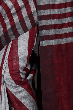 Swatika Ethnic Indian Bhagalpuri Handloom Strip Design Maroon Colored Linen Saree/Sari with an unstitched Blouse Piece Model No -S9AUNZ45