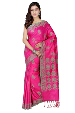 Swatika Ethnic Indian Bhagalpuri Handloom Jacquard Pink Colored Cotton Silk Saree/Sari with an unstitched Blouse Piece Model No -S9AUJJ42