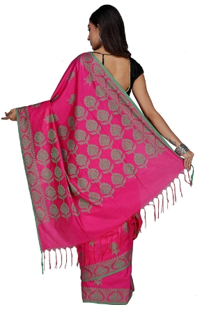 Swatika Ethnic Indian Bhagalpuri Handloom Jacquard Pink Colored Cotton Silk Saree/Sari with an unstitched Blouse Piece Model No -S9AUJJ42