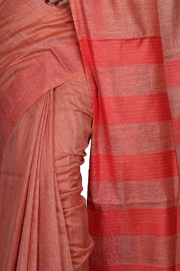 Swatika Ethnic Indian Bhagalpuri Handloom Red colour Banswara Silk Saree/Sari with an unstitched Blouse Piece