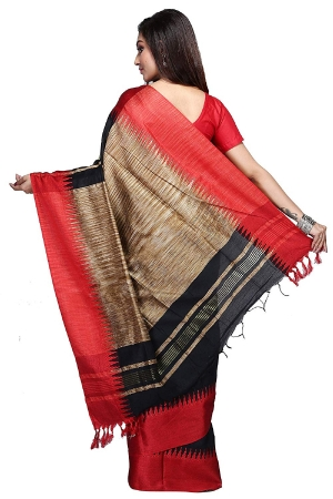 swatika Bhagalpuri Handloom Women's Black Colour Cotton Silk Saree with Blouse Piece Model No - S8NV0040
