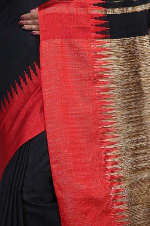 swatika Bhagalpuri Handloom Women's Black Colour Cotton Silk Saree with Blouse Piece Model No - S8NV0040