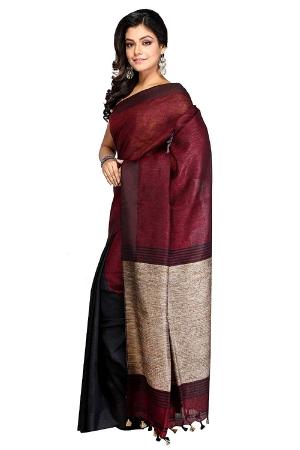swatika Ethnic Indian Bhagalpuri women's Handloom Katia Aanchal Brown-Maroon Color Linen Saree Sari with an unstitched Blouse