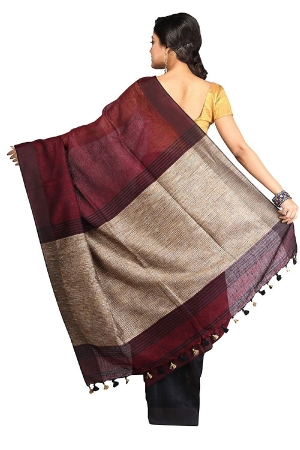 swatika Ethnic Indian Bhagalpuri women's Handloom Katia Aanchal Brown-Maroon Color Linen Saree Sari with an unstitched Blouse
