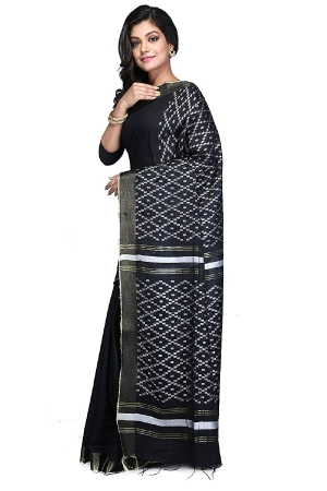Ethnic Indian Bhagalpuri women's Handloom Black Colour Cotton Silk Saree/Sari with an unstitched Blouse Piece