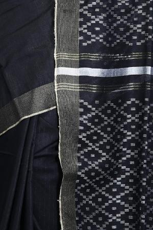 Ethnic Indian Bhagalpuri women's Handloom Black Colour Cotton Silk Saree/Sari with an unstitched Blouse Piece