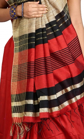 swatika Ethnic Indian Bhagalpuri Handloom Red color Cotton Silk Saree with an unstitched Blouse Piece Model No - MS18JY24