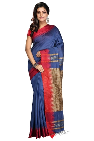 swatika Bhagalpuri Handloom Women's Blue Coloured Cotton Silk Saree with an unstitched Blouse Piece