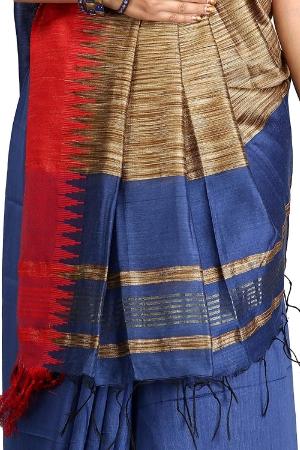 swatika Bhagalpuri Handloom Women's Blue Coloured Cotton Silk Saree with an unstitched Blouse Piece