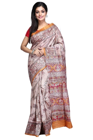 Swatika Ethnic Indian Bhagalpuri Handloom Brown Color Tussar Ghicha Silk Saree/Sari with an unstitched Blouse Piece Model No - S8AUMJ001