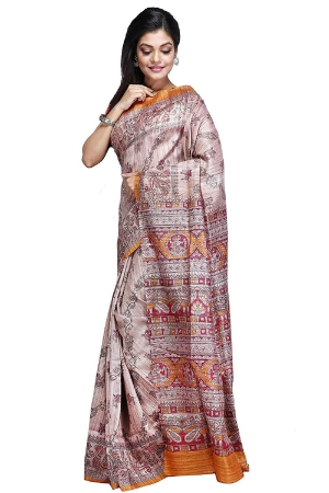 Swatika Ethnic Indian Bhagalpuri Handloom Brown Color Tussar Ghicha Silk Saree/Sari with an unstitched Blouse Piece Model No - S8AUMJ001