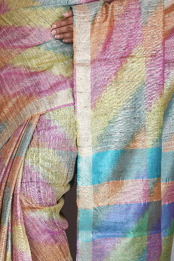 Swatika Ethnic Indian Bhagalpuri Handloom Ikkat Woven Design multicolor Colored Tussar Silk Saree/Sari with an unstitched Blouse Piece Model No - S9OTRD038