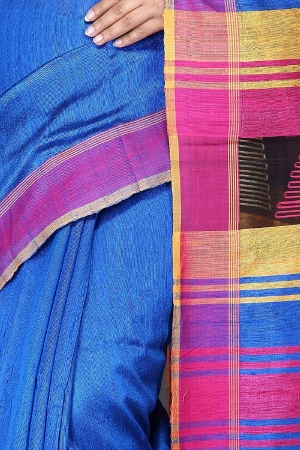 Swatika Ethnic Indian Bhagalpuri Handloom Blue Color Duphion Raw Silk Saree/Sari with an unstitched Blouse Piece Model No - S8MRMJ031