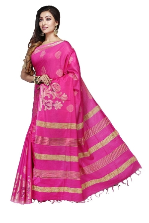 Swatika Ethnic Indian Bhagalpuri women's Handloom Pink Colour Cotton Silk Saree/Sari with an unstitched Blouse Piece