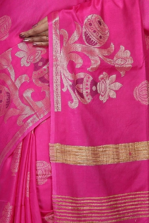 Swatika Ethnic Indian Bhagalpuri women's Handloom Pink Colour Cotton Silk Saree/Sari with an unstitched Blouse Piece