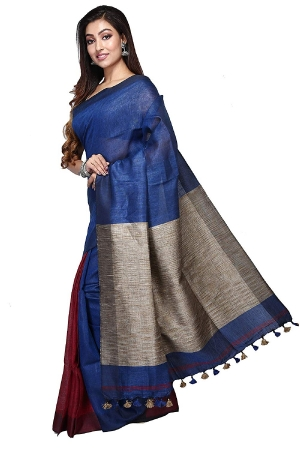 swatika Ethnic Indian Bhagalpuri women's Handloom Katia Aanchal Blue color Linen Saree/Sari with an unstitched Blouse