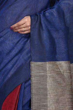 swatika Ethnic Indian Bhagalpuri women's Handloom Katia Aanchal Blue color Linen Saree/Sari with an unstitched Blouse