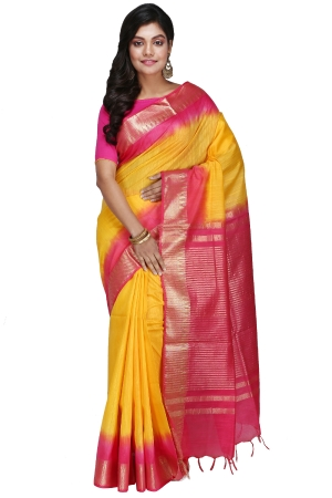 Swatika Ethnic Indian Bhagalpuri Handloom Zari Temple Yellow-Pink Colored Mix Silk Saree/Sari with an unstitched Blouse Piece Model No - S9OTJJ071