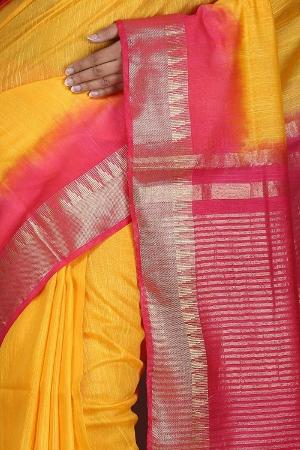 Swatika Ethnic Indian Bhagalpuri Handloom Zari Temple Yellow-Pink Colored Mix Silk Saree/Sari with an unstitched Blouse Piece Model No - S9OTJJ071