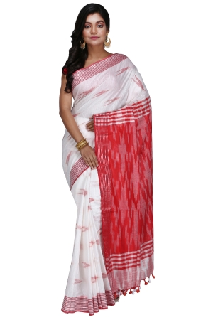 Swatika Ethnic Indian Bhagalpuri Handloom Ikkat Design White - Red Colored Slub Saree/Sari with an unstitched Blouse Piece Model No - S9OTML009