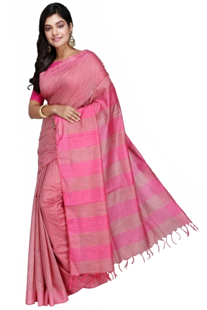 Swatika Ethnic Indian Bhagalpuri Handloom Self Design Pink Colored Banswara Silk Saree/Sari with an unstitched Blouse Piece Model No - S9OTML066