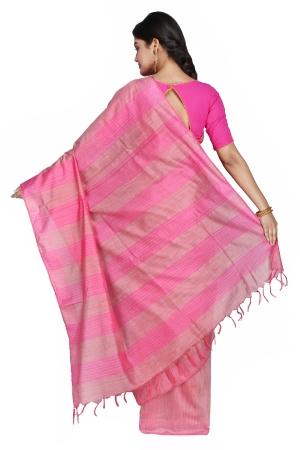 Swatika Ethnic Indian Bhagalpuri Handloom Self Design Pink Colored Banswara Silk Saree/Sari with an unstitched Blouse Piece Model No - S9OTML066