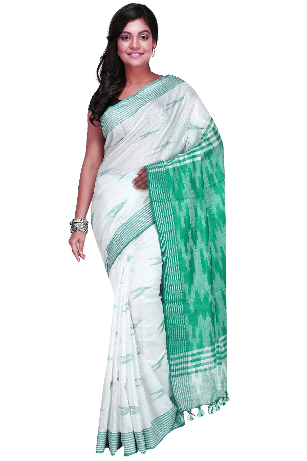 Swatika Ethnic Indian Bhagalpuri Handloom Ikkat Design White-Sea Green Colored Slub Saree/Sari with an unstitched Blouse Piece Model No - S9OTML118
