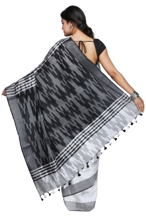 Swatika Ethnic Indian Bhagalpuri Handloom Ikkat Design White - Black Colored Slub Saree/Sari with an unstitched Blouse Piece Model No - S9OTML121