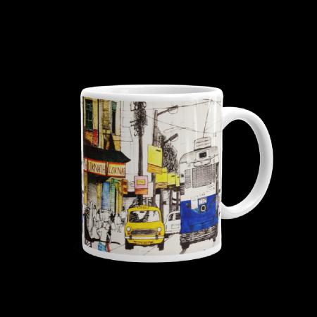Tram Taxi Sketch Coffee Mug