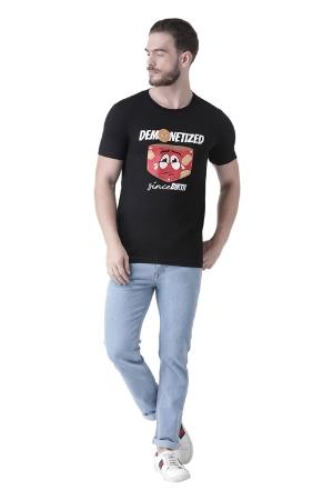 Demonetized Since Birth - Printed Men Round Neck Black T-Shirt